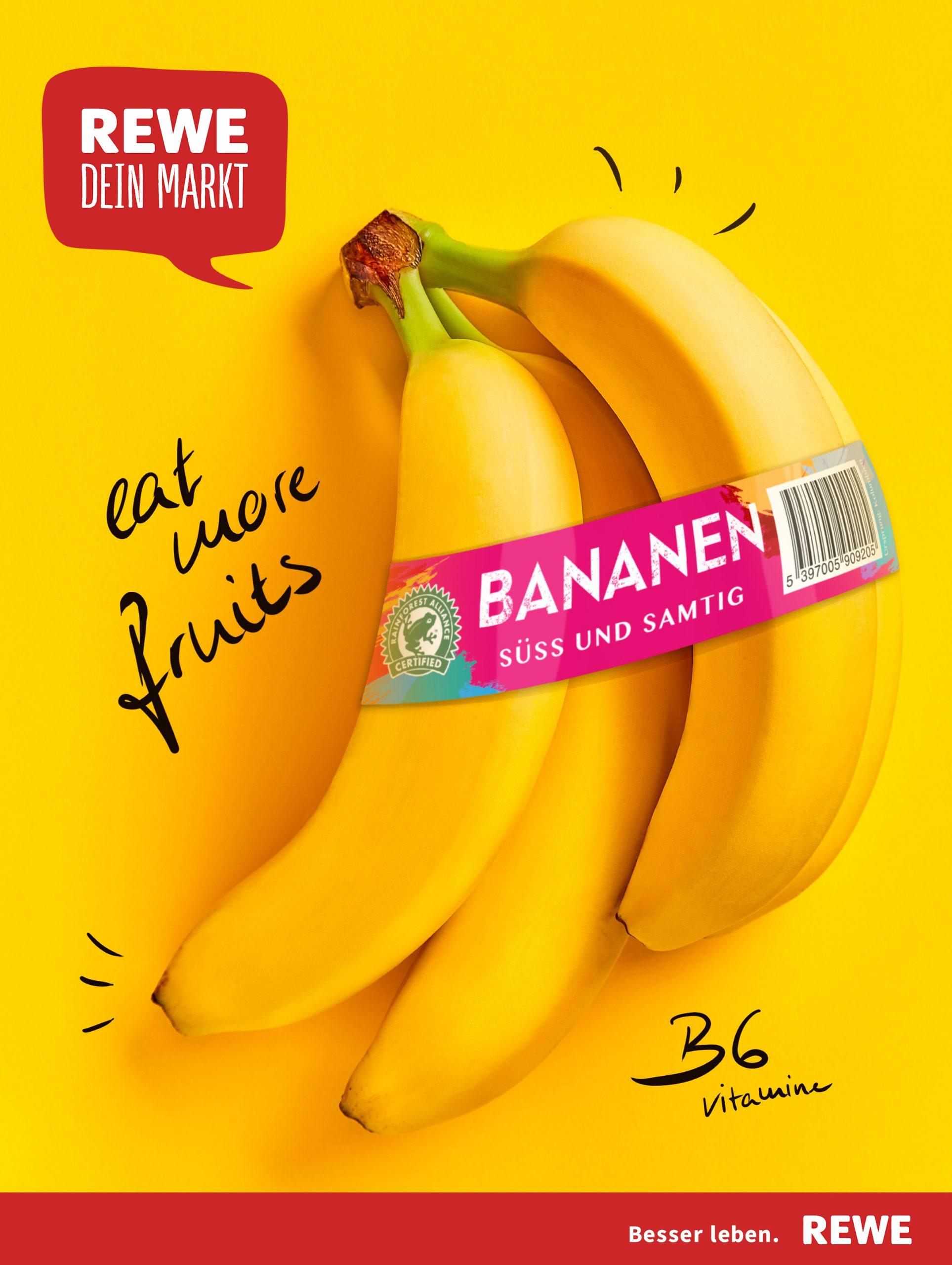 Rewe Bananen Banderole Anzeige von Bob Agency